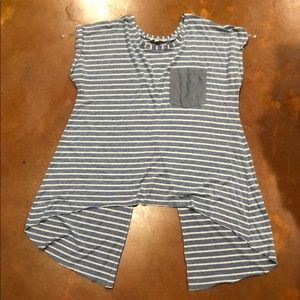 Blue and white stripped boutique top